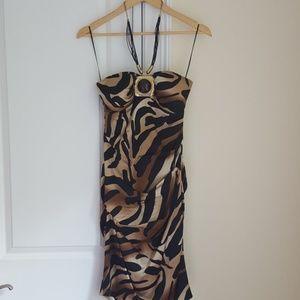 Cache animal print cocktail dress